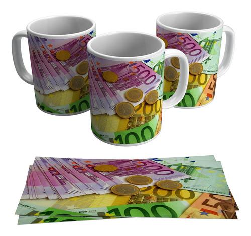 caneca moeda euro dinheiro cédula cotação euro notas
