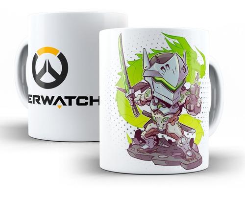 caneca overwatch em cerâmica reaper, genji ou mercy