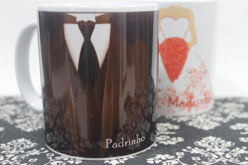 caneca para padrinhos de casamento vestido e terno