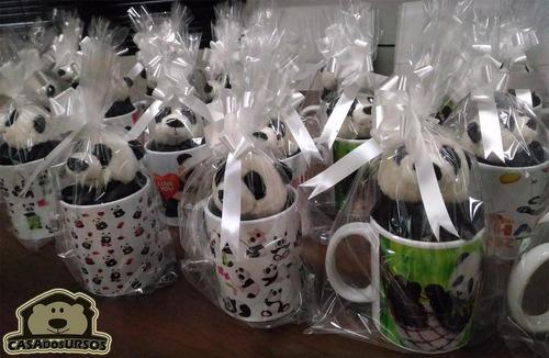 caneca porcelana cute lembrancinha amar + urso panda 15 cm