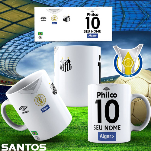 caneca porcelana futebol brasileiro 325 ml + caixinha