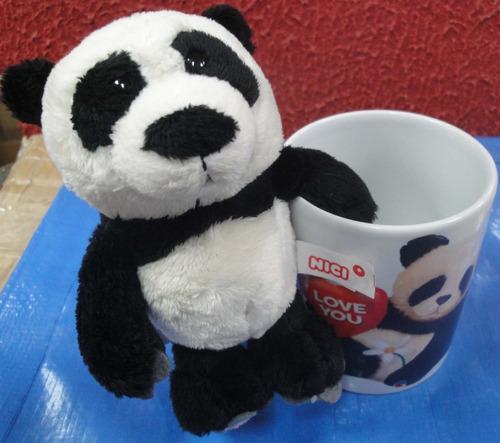 caneca porcelana + urso panda 15cm presente super romântico