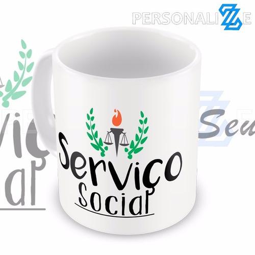 caneca  serviço social assistente social com nome