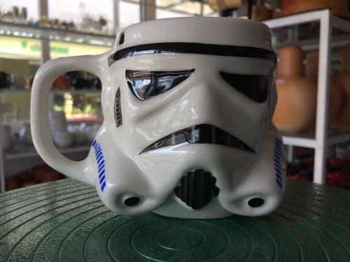 caneca star wars darth vader + stormtrooper porcelana 3d