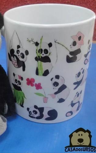 caneca tema ursos pandas lembrancinha de porcelana 330 ml