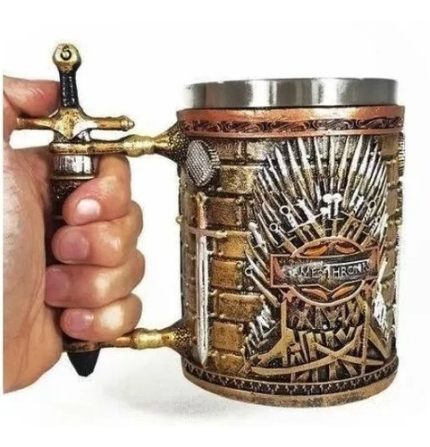 caneca trono ferro game of thrones aço  medieval 3d chopp