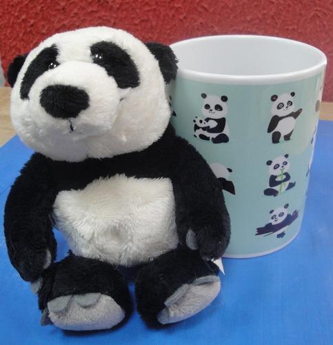 caneca ursinho panda 15 cm cute azul xicara porcelana 330 ml
