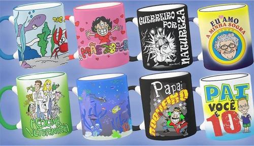 canecas de porcelana, com desenhos-mensagens - novo