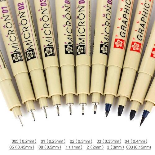caneta artistica pigma graphic brush ponta pincel - marrom