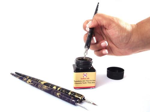caneta bico de pena desenho cabo madeira nanquim talens c/ 3