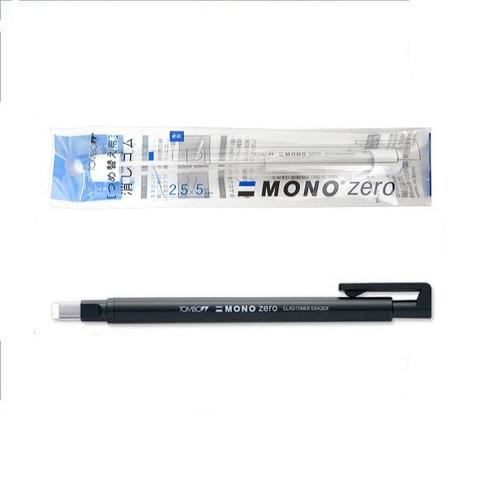 caneta borracha tombow mono zero ultrafina 2,5 preta e refil