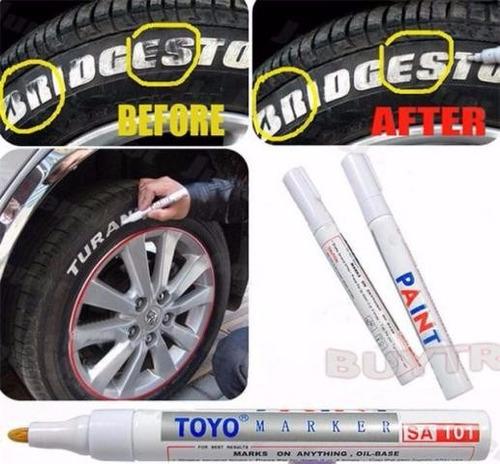 caneta branca pintar destacar letras pneus kit 5 unidades