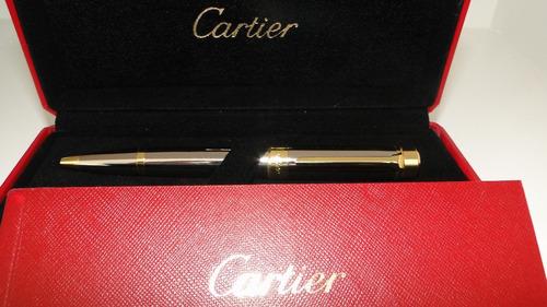 caneta cartier prata e ouro c/certificado