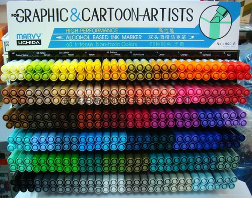 caneta cartoon designer light green 11 ponta dupla marvy
