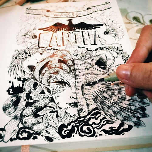 caneta cartoon designer rosewood 30 ponta dupla marvy