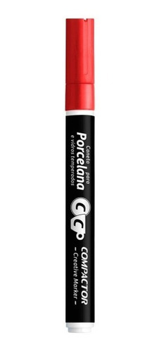 caneta creative marker porcelana compactor vermelho