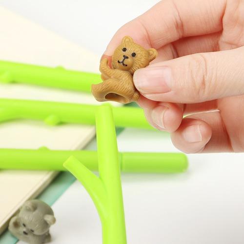 caneta esfero urso floresta divertida bambu brinde festa 5u