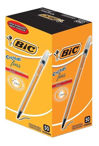caneta esferográfica bic fine plus 0.7 preta - caixa 50 un.