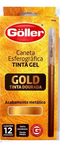 caneta esferográfica tinta gel dourada gold goller - 12pçs