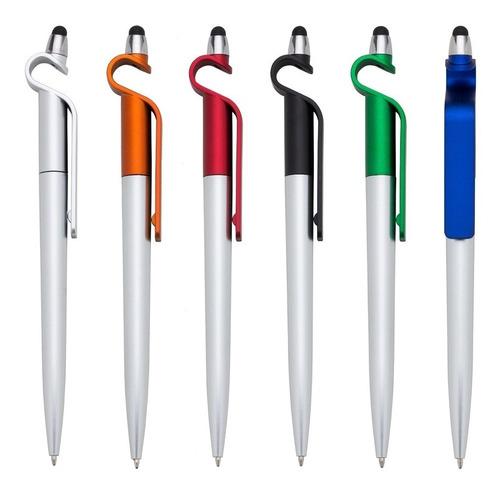caneta esferográfica touch e suporte cel/tablet (5 peças)