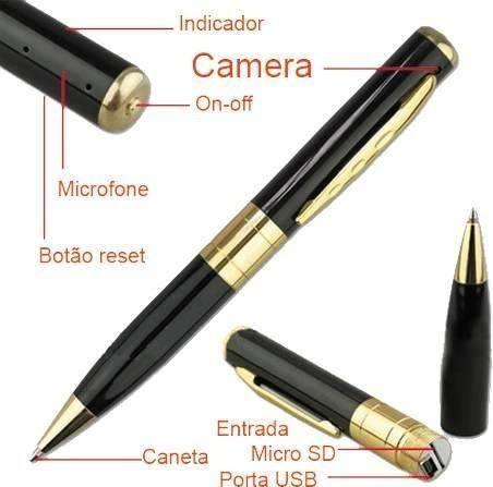 caneta espiã camera filmadora, foto e videos