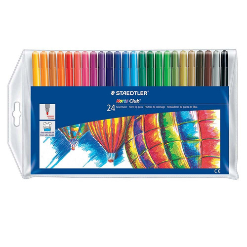 caneta hidrocor 24 cores staedtler noris club325 ponta fina