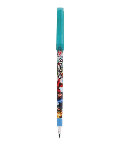 caneta hidrocor ponta fina 12 cores miraculous cat noir tris