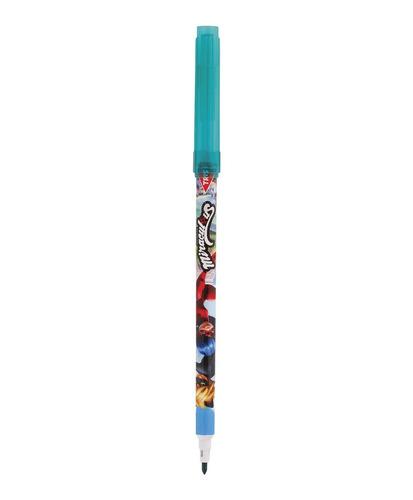 caneta hidrocor ponta fina 12 cores miraculous ladybug tris