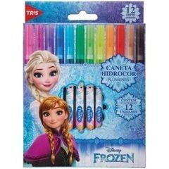 caneta hidrográfica 12 cores ponta fina frozen tris