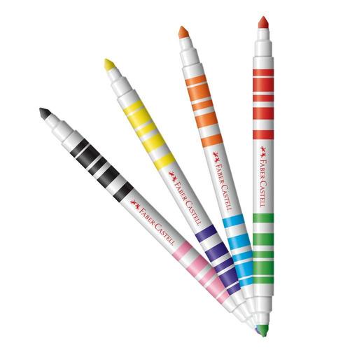 caneta hidrográfica bicolor faber castell 12 canetinhas = 2