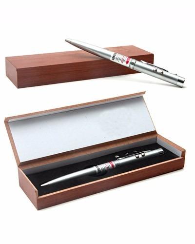 caneta laser e lanterna esferografica estojo caixa madeira