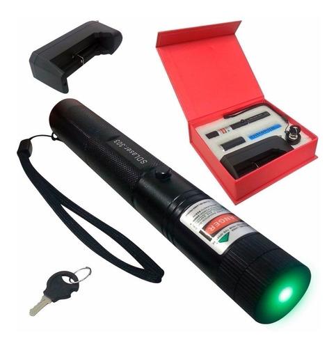 caneta laser pointer verde 98.000mw forte 50km com chave