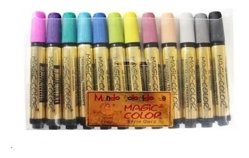 caneta magic color marcador permanente c/12 cores 643-0