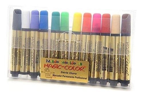 caneta magic color marcador permanente c/12 cores da moda