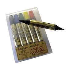 caneta marcador permanente 2 ponta dupla 6 tons de cinzas