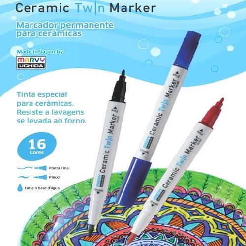 caneta marcador porcelana ceramic twin marker azul claro