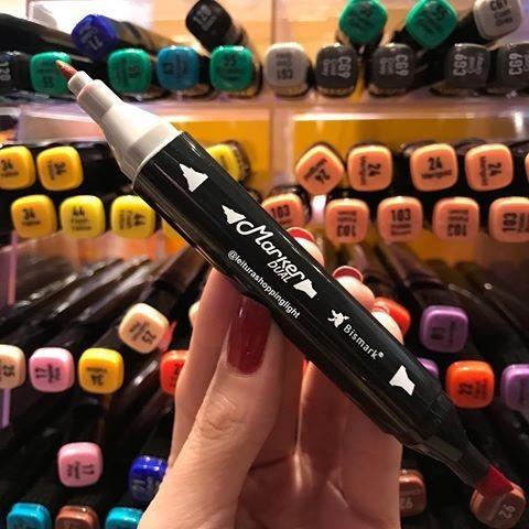 caneta marcador tipo copic bismark 2 pontas 12 + estojo