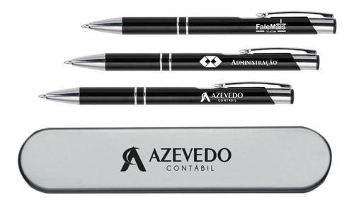 caneta metal com estojo personalizados
