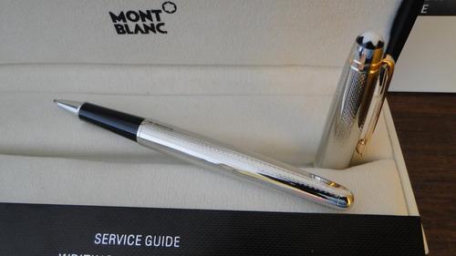 caneta mont blanc meisterstuker 163 rollerball prata