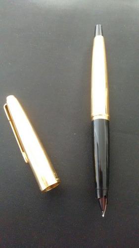caneta parker 45 banhada ouro tinteiro no estojo