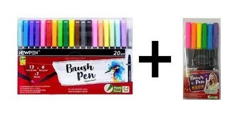 caneta pincel brush c/20 newpen com blender + neon yasmin