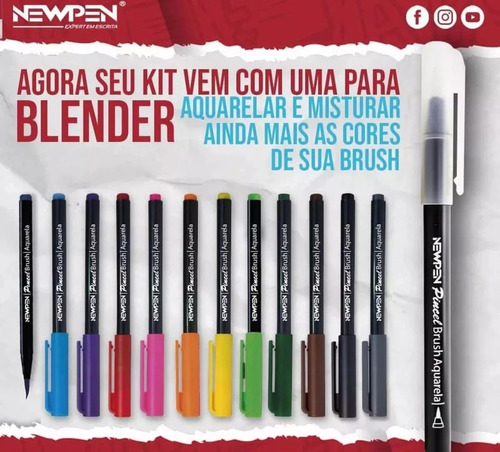 caneta pincel brush newpen - kit com 16 unidades com blender