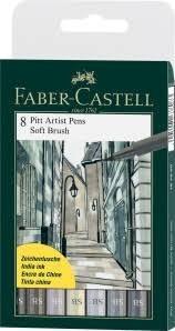 caneta pincel pitt brush faber castell 8 cinzas *imperdível