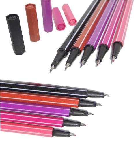 caneta ponta fina 0.4 mm - 12 cores tipo stabilo - testadas