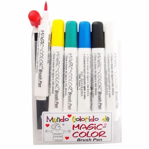 Caneta Ponta Pincel Magic Color Brush Pen Sumie Cj6 Cores