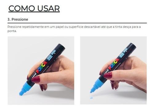 caneta posca pc-3m artistica fine line - uni ball - branca