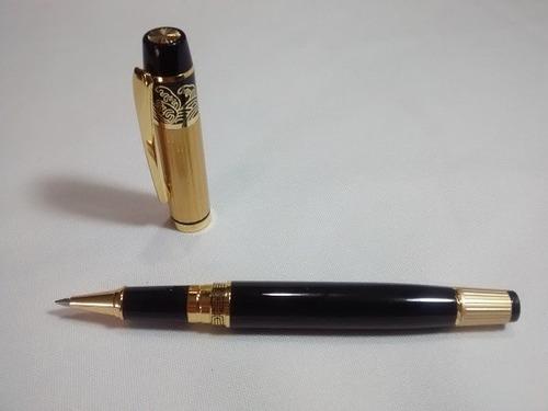 caneta roller importada black gold