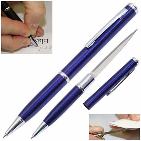 caneta tatica 007 defesa pessoal lâmina disfarçada faca azul