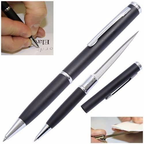 caneta tatica 007 defesa pessoal lâmina disfarçada preta