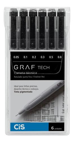 caneta técnica graf tech c/6 cis